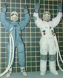 The Block II spacesuit in January 1968, before (left) and after changes recommended after the Apollo 1 fire