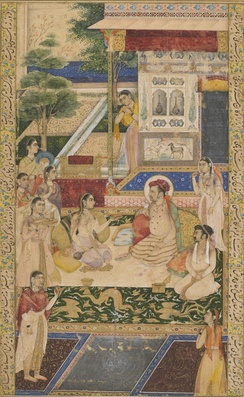 Jahangir and Prince Khurram with Nur Jahan, c. 1624. This scene is probably set in the Ram Bagh garden, which the empress Nur Jahan, a great patron of gardens, had re-modeled in 1621.