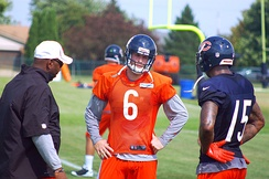 Cutler talking to Brandon Marshall at Bears Training Camp in 2012