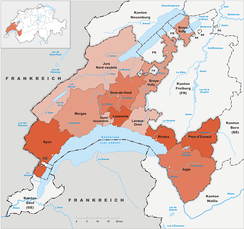 Districts of Canton Vaud