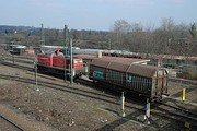 A switch engine pushes a car over the hump at Kornwestheim yard
