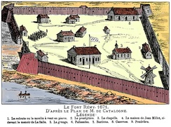 Fort Remy in 1671. An outpost erected west of Ville-Marie, the town saw its fortification as the war with the Iroquois threatened its survival.