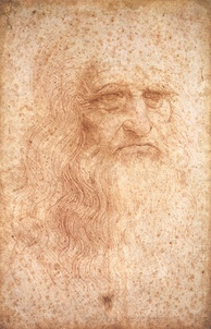 Leonardo da Vinci, seen here in a self-portrait, has been described as the epitome of the artist/engineer.[109] He is also known for his studies on human anatomy and physiology.