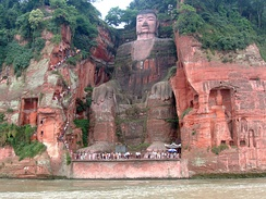 Seated stone-carved Maitreya, Leshan Giant Buddha in Sichuan, China