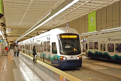 Central Link light rail trains in the Downtown Seattle Transit Tunnel at the University Street Station