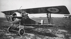 Camouflaged Nieuport 17 fitted with over-wing gun and Le Prieur rocket tubes