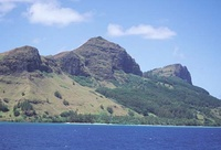Mt. Duff, 1,200 feet (370 m), the only volcanic remnant of all the original volcanoes which made up the Tuamotu archipelago