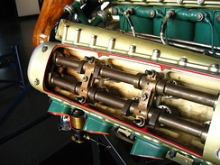 Cutaway view of a Napier Lion showing the double overhead camshaft arrangement