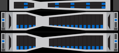 NetApp HCI: two 2U HCI Chassis with four half-width blade servers at the bottom and one 1U storage node at the top