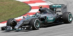 Mercedes F1 W06 Hybrid, driven by Nico Rosberg, during the 2015 Malaysian Grand Prix, using 1.6 L turbocharged V6 Hybrid engine.