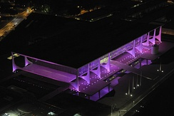 Aerial view of Palácio do Planalto, the official workplace of the President of Brazil, lit up in pink on October 1, 2014