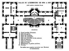 Plan of the corp de logis from 1804 to 1836 with the old senate chamber