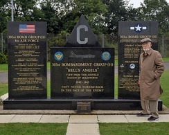 The memorial in 2012 with Lt. Col. Albert Levin. He flew 35 missions as a B-17 navigator from RAF Molesworth from 1944-45