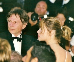 Polanski with wife Emmanuelle Seigner at the 1992 Cannes Film Festival.