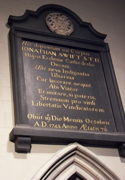 Epitaph in St Patrick's Cathedral, Dublin near his burial site.