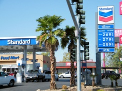 A Chevron station branded under the Standard name in Las Vegas