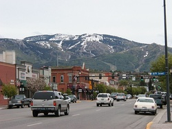 Downtown Steamboat Springs, in May 2006, with the ski area in the background