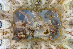 The Harmony between Religion and Science, a ceiling fresco of the Marble Hall at Seitenstetten Abbey (Lower Austria) by Paul Troger, 1735