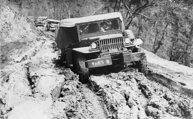 A Dodge of the 5th Indian Division slugging through mud on the Tiddim Front — War logistics in the Far East; the Burma campaign, 1941-1945