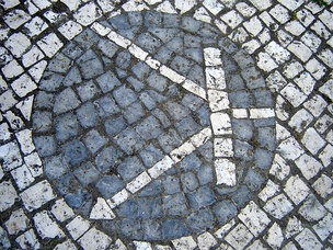Transistor symbol created on Portuguese pavement in the University of Aveiro.