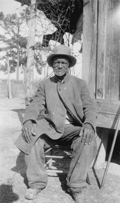 Wes Brady, ex-slave, Marshall, Texas, 1937. This photograph was taken as part of the Federal Writers' Project Slave Narrative Collection, which has often been used as a primary source by historians.