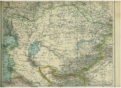Map from a 1903 Polish encyclopedia showing the Naiman people living north of Lake Balkhash in eastern Kazakhstan