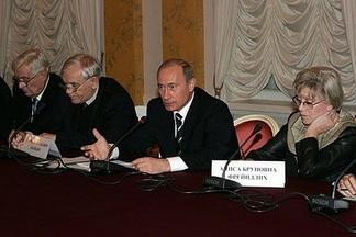Олег Басилашвили (крайний слева) на встрече Владимира Путина с представителями российской интеллигенции, 29 ноября 2006 года