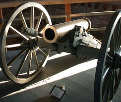 Nineteenth-century 12-pounder (5 kg) mountain howitzer displayed by the National Park Service at Fort Laramie in Wyoming, United States