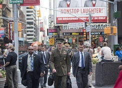 Dunford in Times Square after speaking at the United Nations