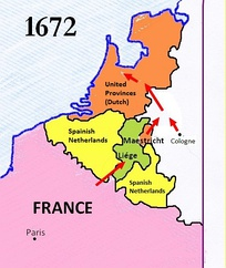 The planned 1672 French offensive; the alliance with Münster and Cologne allowed them to bypass the Spanish Netherlands
