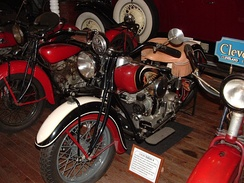 "1939 Indian 4, in the ""World's Fair"" color scheme, in commemoration of the 1939 New York World's Fair. On display at Clark's Trading Post, Lincoln, New Hampshire."