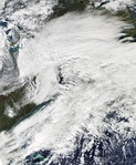 The 2011 October nor'easter is seen via satellite.