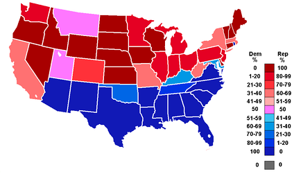 Percentage of members from each party by state at the opening of the 80th Congress, ranging from dark blue (most Democratic) to dark red (most Republican).