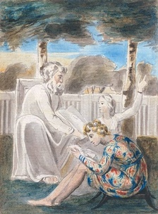 "William Blake's watercolor of ""Age teaching youth"", a Romantic representation of mentorship. Blake represented this type of relationship in many of his works, including the illustrations of his Songs of Innocence. The original object is currently held by Tate Britain[14]"