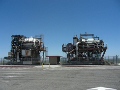 HTRE-2, left, and HTRE-3, right, on display at the Idaho National Laboratory near Arco, Idaho