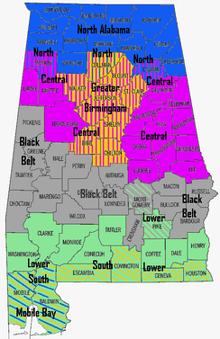 A map of Alabama regions.