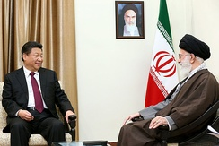 Ali Khamenei, the Supreme Leader of Iran, meeting with his counterpart, China's paramount leader Xi Jinping on 23 January 2016. Iran and China are strategic allies.[228][229]