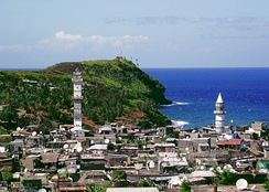 A view of a coastal town in Anjouan including mosque