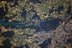 View of Bern from the ISS; The Old City is in the lower right-hand side.