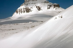 The Big Drift covering the Going-to-the-Sun Road in Glacier National Park as photographed on March 23, 2006