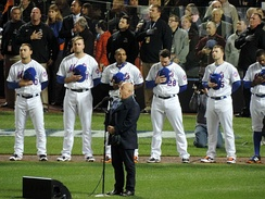 Billy Joel singing the National Anthem before Game 3