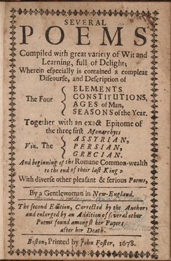 Title page, second (posthumous) edition of Anne Bradstreet's poems, 1678