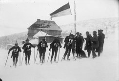 German Reichswehr military patrol on skis training in the Giant Mountains, 1932.