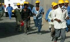 South Asian construction workers at the Burj Khalifa (formerly Burj Dubai)