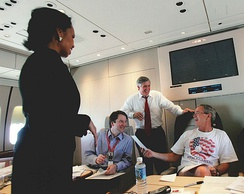 Kavanaugh (blue shirt) with President Bush, Andy Card, and Condoleezza Rice