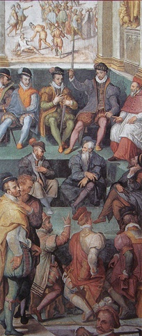 Charles IX in front of the Paris Parlement on 26 August 1572, justifying the Saint Bartholomew massacre as a response to a Huguenot plot. Vasari for Pope Gregory XIII, Sala Regia (Vatican).