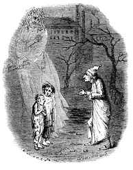 Scrooge being shown two small children, depicting Ignorance and Want, by the Ghost of Christmas Yet to Come
