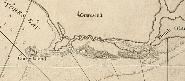Detail of a 1776 nautical chart showing the collection of islands and shifting sand that eventually became present day Coney Island.