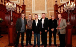 Current members of Deep Purple with then-Russian President Dmitry Medvedev in 2011