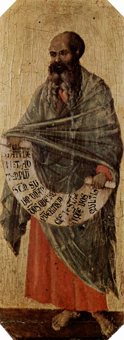 "Malachi, one of the last prophets of Israel, painting by Duccio di Buoninsegna, c. 1310 (Museo dell'Opera del Duomo, Siena Cathedral). ""He [Mashiach] will turn the hearts of the parents to their children, and the hearts of the children to their parents"" (Malachi 4:6)[7]"